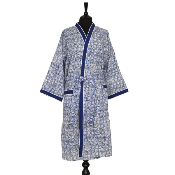 Block printed dressing gown - Blue and White Pattern | Camilla Costello