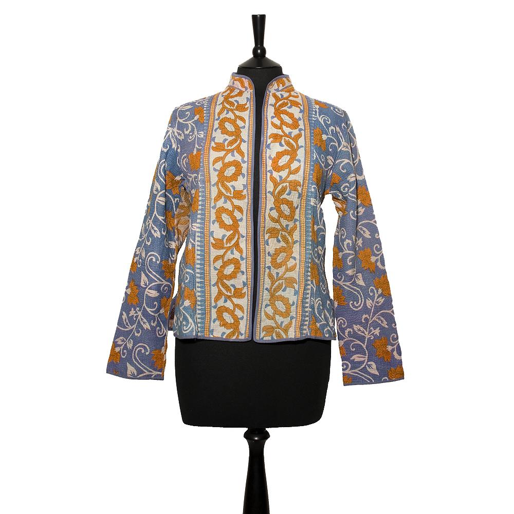 Short Kantha Jacket X Large Size 14 16 Pale Blue