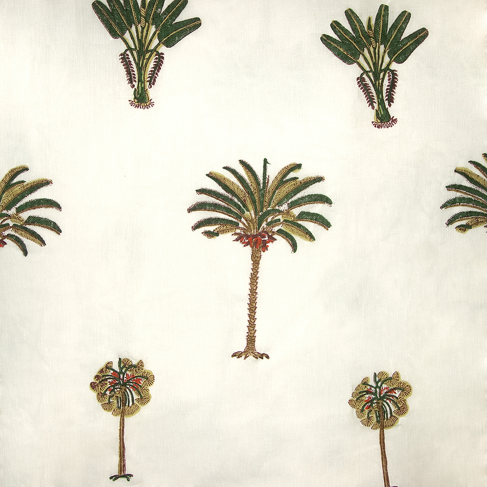 Cotton Fabric 1 Block Printed With Palm Date And Banana Tree Motif Camilla Costello