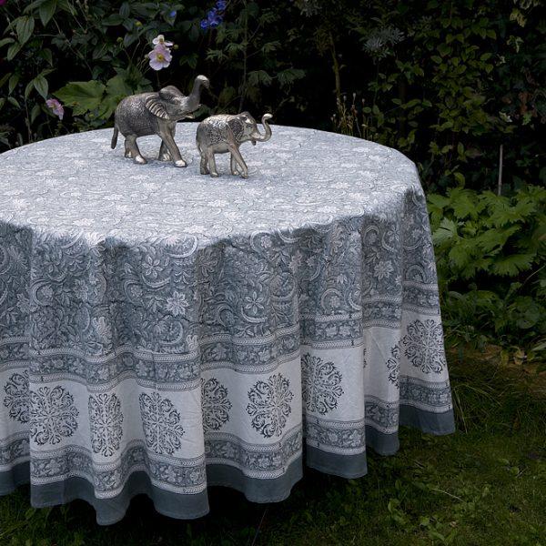 187 Block Printed Cotton Tablecloth Round Ash Grey